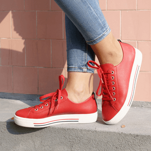 Remonte - D0900-33 Leather Lace-Up Trainer, Red