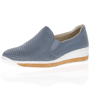 Rieker - 59776-10 Low Wedge Shoe, Blue-Grey