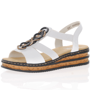 Rieker - 629Y2-80 Low Wedge Sandal, White