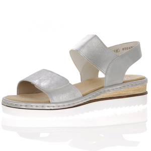 Rieker - 67990-90 Low Wedge Sandal, Silver