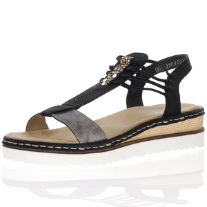 Rieker - 679L1-90 Low Wedge Sandal, Black