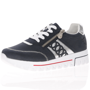 Rieker - L2808-14 Lace Up Platform Trainer, Dark Navy