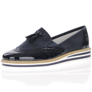 Rieker - N0257-14 Low Wedge Patent Loafer, Dark Navy