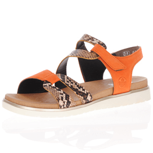 Rieker - V5069-24 Flat Leather Sandal, Orange Multi