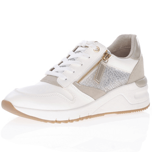 Tamaris - 23702 Low Wedge Trainers, White - Lt Gold