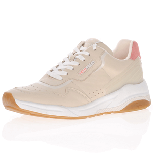 Tamaris - 23731 Leather Lace Up Trainer, Sand