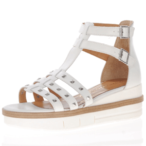 Tamaris - 28277 Leather Gladiator Wedge Sandal, White