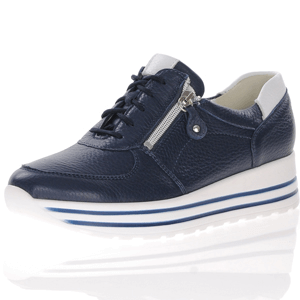 Waldlaufer - 758009 Wide Fit Lace Up Shoe, Navy