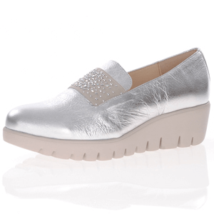 Wonders - C-33158 Low Wedge Loafer, Silver