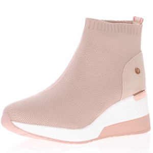 Xti - 42571 Mesh Sock Wedge Boots, Nude