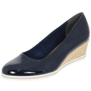Tamaris - 22441 Patent Wedge Espadrille, Navy