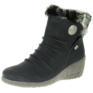 Rieker - Y0363-01 Water Resistant Wedge Boot, Black